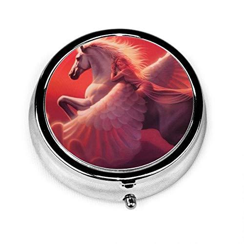White Winged Horse Sex Goddess Vintage Novelty Round Pill Box Pocket Medicine Tablet Holder Organizer Case for Purse Unique Gift