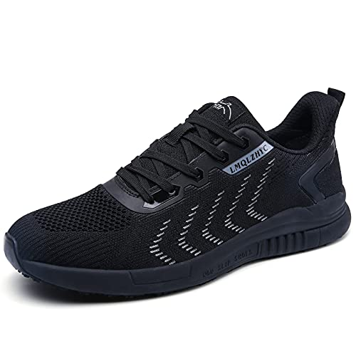 LMQLZHYC Men's and Women's Food Service Work Shoes Non Slip Breathable Mesh Upper, Suitable for Chefs, Nurses, Health Care Workers, Lightweight and Comfortable Work Shoes Black Gray