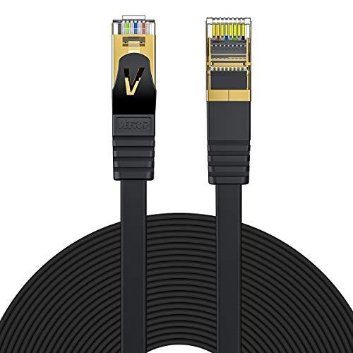 Veetop 15m Lan Kabel Cat 7 Netzwerkkabel Flach für 10 Gigabit Ethernet mit vergoldetem RJ45. Schwarz