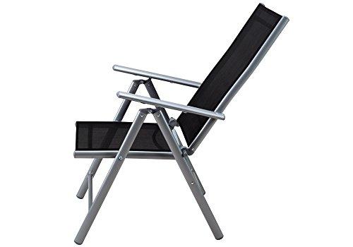 Deuba Sitzgruppe Bern 6+1 Aluminium 7-Fach verstellbare Hochlehner Stühle Tisch mit Sicherheitsglas Silber Garten Set - 7
