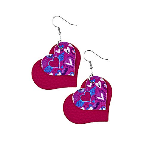 SDCAJA earrings for women Double Sided Faux Leather Valentine's Day Party Heart-Shaped Print Earrings 1pc
