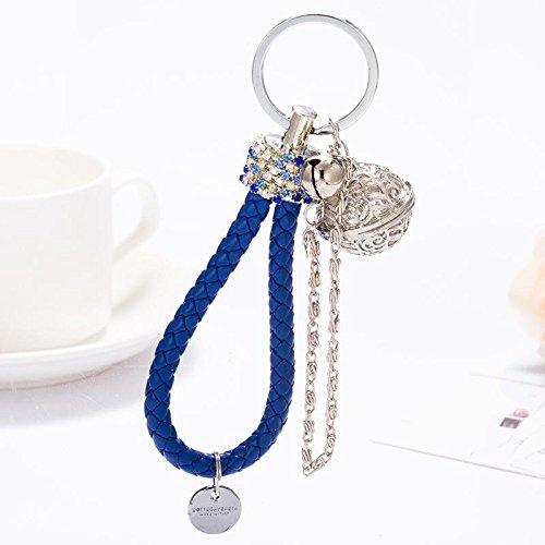 MZP Corée corde tressée véritable diamant BV palais clé de voiture de corde de la cloche de clés chaîne de bijoux mignons Hommes Femmes , a