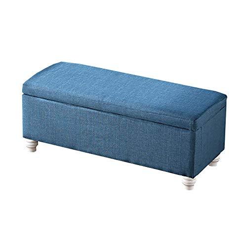Banco de cama otomano de madera de Roope, con asiento de lino y esponja, asiento de ABS silencioso antideslizante, azul, 100x40x40cm