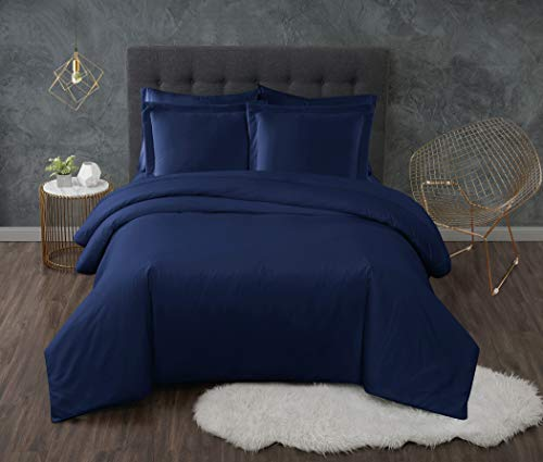 Full/Queen 3pc Antimicrobial Duvet Set Navy - Truly Calm