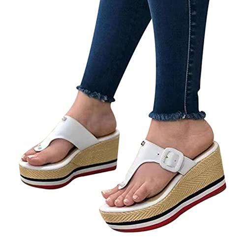 Mengdie Mujeres Sandalias 2021 Tacones Mujer Zapatillas Plataforma Cuñas Zapatos Señoras Verano Diapositivas Hebilla Flip Flops