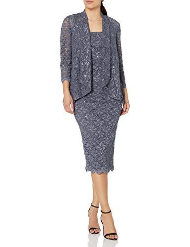 Alex Evenings Women's Tea Length Dress and Jacket (Petite and Regular Sizes), Blue Smoke, 14P