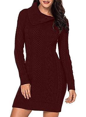 Sidefeel Women Asymmetric Buttoned Collar Bodycon Mini Sweater Dress Small Burgundy
