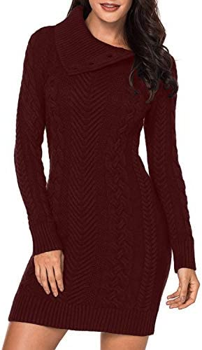 BLENCOT Women s Fashion Cable Knit Sweater Asymmetric Neck Button Bodycon Dress Jumper Pullover product image