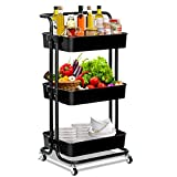 3-Tier Rolling Utility Cart with Handle,Rolling Metal Storage Organizer Mobile Utility Cart with Caster Wheels Multifunction Storage Trolley Supply for Bathroom,Kitchen,Office Coffee Bar (Black)