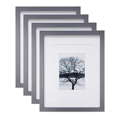 Egofine 11x14 Picture Frames 4 Pack Display Pictures 5x7/8x10 with Mat or 11x14 Without Mat Made of Solid Wood for Table Top Display and Wall Mounting Photo Frame, Dark Gray