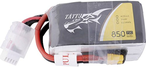 TATTU 850mAh 14.8V 75C 4S1P Akku LiPo Akku mit XT60 Anschluss für FPV Racing Quadrocopter H Size und X Size