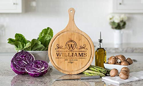 Personalized Cutting Board (Williams Design) Wedding Gifts for the Couple - Engraved Cutting Board, Also Bridal Shower Gifts and Mother's Day Gifts (11.25 x 16 Bamboo Round Handled with Grooves)