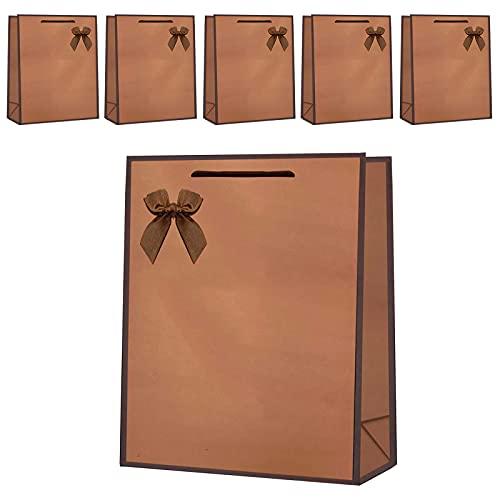 6枚 ギフトバッグ おしゃれ手提げ袋 ラッピング袋 大き 紙袋 プレゼント用 ギフト包装 厚手 丈夫 贈り物 32*26*12 (コーヒー)