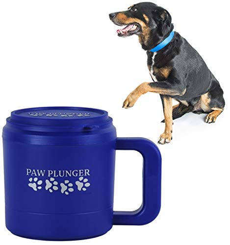 Paw Plunger for Medium Dogs - Portable Dog Paw Cleaner for Muddy Paws -This Dog Paw Washer Cup Saves Floors, Furniture, Vehicles from Paw Prints-Pet Paw Cleaner with Soft Bristles and Handle, Blue