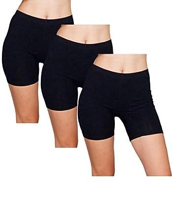 Emprella Slip Shorts 3-Pack Black Bike Shorts Cotton Spandex Stretch Boyshorts For Yoga,Black,Medium