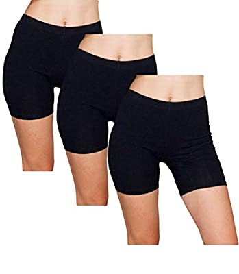 Emprella Slip Shorts 3-Pack Black Bike Shorts Cotton Spandex Stretch Boyshorts For Yoga,Black,Large