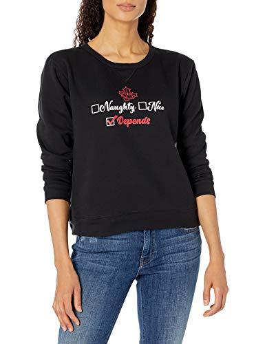 Hanes Women's Ugly Christmas Sweater-Naughty Nice Depends, Ebony, 2XL