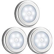 Nachtlicht mit Bewegungsmelder, URPOWER LED Nachtlampe mit Bewegungsmelder Batterie Auto EIN/AUS Magnetisch und 3M Klebend für Eingang, Flur, Keller, Garage, Schrank, Kaltweiß