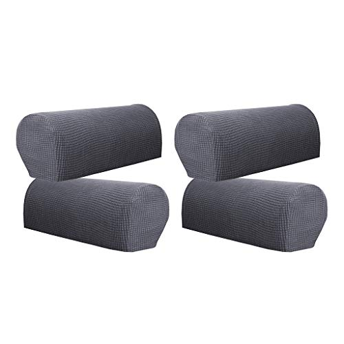 SM SunniMix 4 Stück Armlehnenschoner Sesselschoner Sesselhusse Sesselüberwurf Polsterschutz Sesselzubehör Lehnenüberwurf - Grau