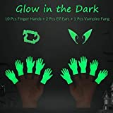 Tiny Hands Finger Hands, 10pcs Glow in The Dark Mini Soft Hand Puppet Cute Little Hand Finger Puppets with Luminous Elf Ear and Vampire Teeth for Halloween Cosplay Party Costume Decorations