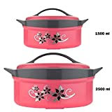 Primelife Nexa Inner Steel Royal King Insulated Casserole Hot Pot for Roti/Chapati Hot Box Chapati Box/Casserole Set/chapati Container Combo of 1500ml and 2500ml - Multicolor (Royal King-1500 & 2500)