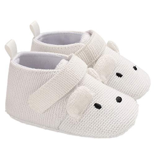 Morbuy Baby Baumwolltuch Schuhe Frühling Klettverschluss Babyschuhe Neugeborene Kleinkind Weiche Alleinige Anti-Rutsch Krabbelschuhe Wanderer Schuhe (13cm / 12-18 Monate, Weiß)