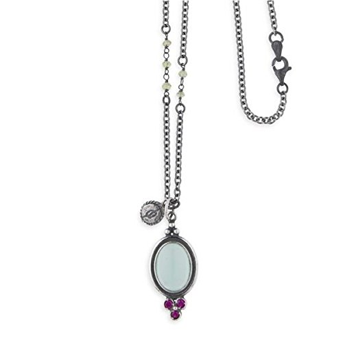 Collar largo en plata envejecida con colgante de calcedonia, de Platadepalo, tipo rosario.