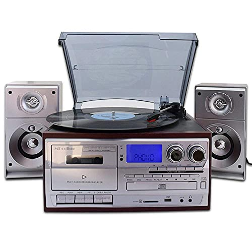 Bluetooth Viny Record Player Turntable, CD, Cassette, AM/FM Radio and Aux in with USB Port & SD Encoding- Remote Control, Built-in Stereo Speaker, Stand Alone Music Player, with Remote Control recor