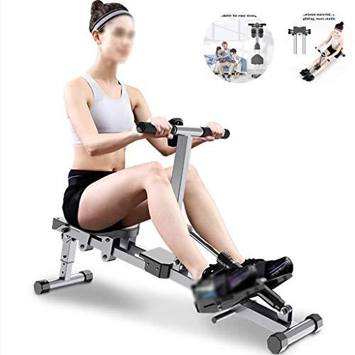 LYMHGHJ Rudergerät Faltbares Rudergerät, einstellbares Rudergerät, Gewichtsverlust und muskelaufbauendes Bauchmuskeltraining Fitnessgerät (Farbe: Schwarz, Größe: 142 * 30 *)