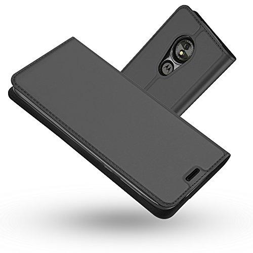 Radoo Coque Motorola Moto E5 Play, Ultra Mince en Cuir PU Premium Housse à Rabat Portefeuille Coque Étui de Protection Bumper Folio à Clapet pour Motorola Moto E5 Play (Gris Noir)