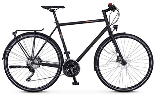 """vsf fahrradmanufaktur T-500 Shimano Deore 30-G Disc Trekking Bike 2021 (28\"""" Herren Diamant 57cm, Ebony Matt (Herren))"""