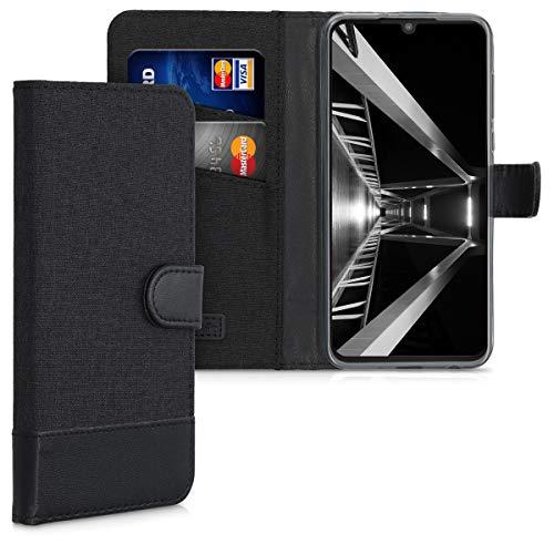 kwmobile Hülle kompatibel mit Motorola One Zoom - Kunstleder Wallet Hülle mit Kartenfächern Stand in Anthrazit Schwarz