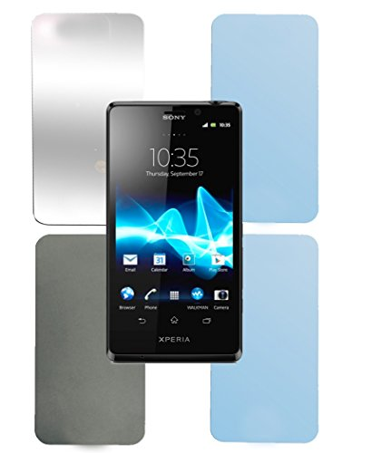 Cadorabo Sony Xperia T Pellicola Protettiva Display in Alta TRASPARENZA - 4X Pezzi di Foglio per la Protezione dello Schermo - 1x Privacy - 1x Specchio - 1x Anti-Riflesso - 1x Anti-Impronta