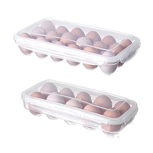 SJZERO Caja de Almacenamiento de Huevos, contenedor, portátil, Transparente, 10 Rejillas, Organizador de Huevos para gabinetes de Cocina, Nevera, encimera