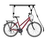 Relaxdays Elevador de Bicicleta hasta 20 kg, Elevador de Techo con Cuerda, Acero, para Garaje y sótano, Soporte de Techo para Bicicleta, Color Negro, 1 Unidad