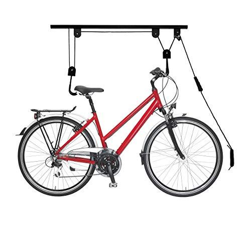Relaxdays Fahrradlift, bis 20 kg, Deckenlift mit Seilzug, Stahl, für Garage & Keller, Fahrrad Deckenhalterung, schwarz, 1 Stück