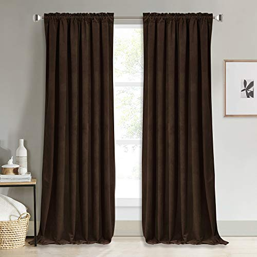NICETOWN Thermal Insulated Brown Velvet Curtains, Sound Reducing Heavy Matt Solid Room Darkening Drapes/Panels for Holiday (2 Panel Per Pack, 84 inches Long)
