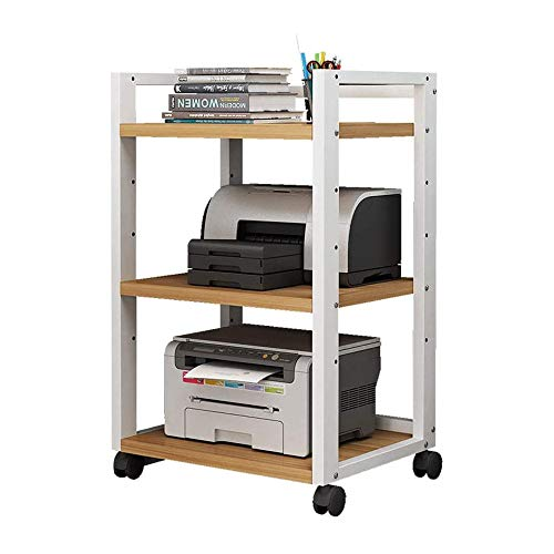 Printer Shelf Mobile Office Organiser Layer Distance can be Adjusted, 4 Wheels, White Walnut