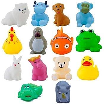 Storio Colorful Floating Baby Toys Bath Aquatic Animals Chu Chu Toys for Newborn Babies - 14 Pcs