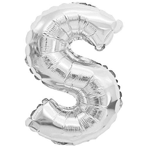 XXL LUFTBALLONS Folien-Ballons Heliumballons Buchstaben & Zahlen & Zeichen - 80CM GROßE Party-Dekoration XL für Geburtsag Hochzeit Feier - S in Silber