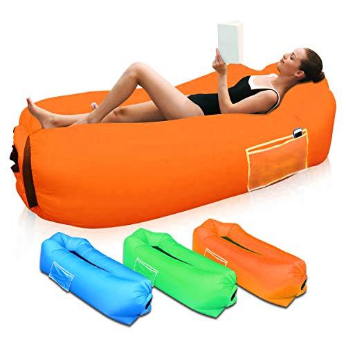Sofá Hinchable para Interiores y Exteriores, Portátil Impermeable Sofa Cama Hinchable,Almohada incorporada y Bolsa de Almacenamiento incluida Aire sofá para Playa,Camping,Viajes, Piscina (Orange)