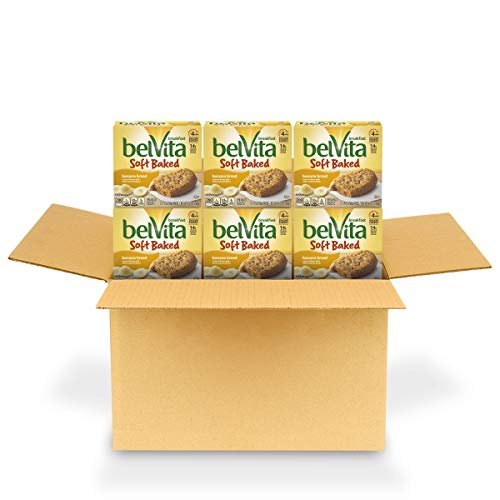 belVita Soft Baked Breakfast Biscuits Banana Bread Flavor 6 Boxes of 5 Packs 1 Biscuit Per Pack