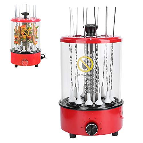 GOTOTOP Barbacoa de mesa eléctrica vertical, rejilla para barbacoa con temporizador, electrodomésticos de cocina para barbacoa, multifunción, para barbacoa vertical, 12 brochetas (220 V)