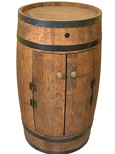 Fassbar mit 2 Türen und Led, Holzfass 80 cm Weinfass - Barschränk handgemacht Flaschenregal Hausbar Vintage theke bar Wand holzregal Whisky Wein Bier - Bartisch Geschenk für Männer