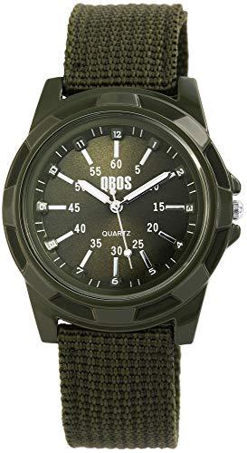 QBOS Herrenuhr Grün Analog Metall Textil Quarz Armbanduhr