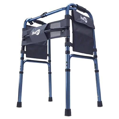 Hugo Mobility 770-260 Hugo Adjustable Folding Walker with Bonus 5 Inch Wheels and Plastic Glides, Sapphire Blue