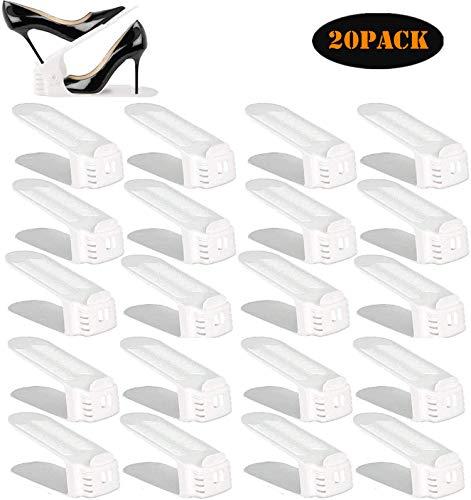 YIHATA Shoe Slots Organizer,Shoe Rack Adjustable Shoe Stacker Space Saver,Double Deck Shoe Rack Holder for Closet Organization (White, 20)