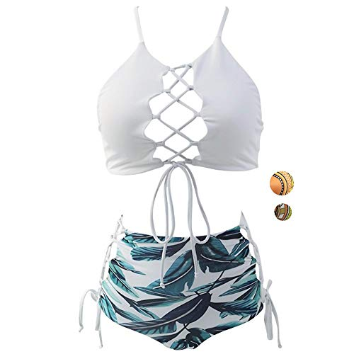 GIRL AND SEA Women White Backless Bikini High Waist Tankini Patterned Leaf Bathing Suit Set L