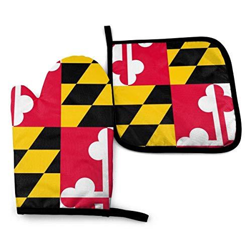 shenguang Maryland MD State Flags Hitzebeständige Ofenhandschuhe und Topflappen für küchenweiches Baumwollfutter mit rutschfester Oberfläche für sicheres Grillen Kochen Backen Grillen, masch