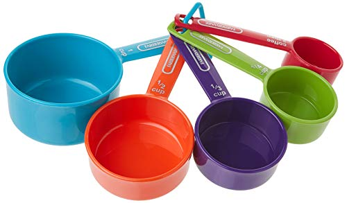 Farberware Professional Plastic Measuring Cups with Coffee Spoon, Set of 5, Assorted Colors